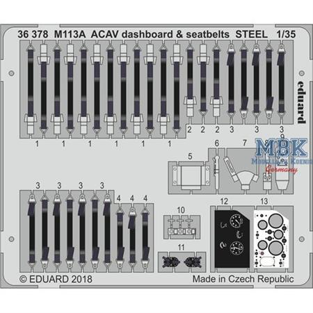 M113A1 ACAV dashboard & seatbelts STEEL 1/35