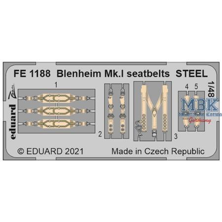Bristol Blenheim Mk.I seatbelts STEEL 1/48