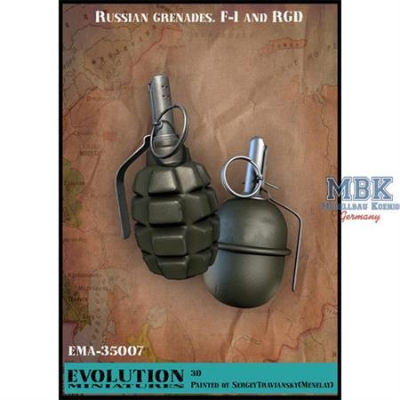 Russian Grenades - F-1 and RDG  Handgranaten