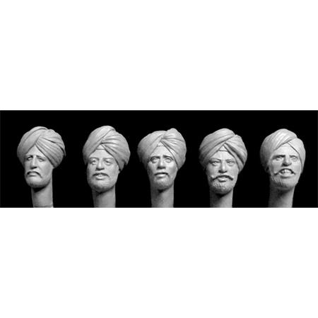 5 heads with Sikh turbans