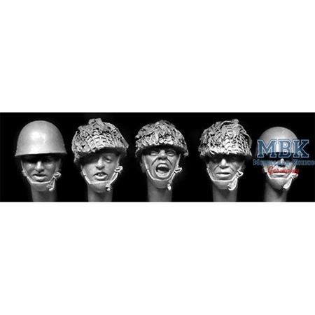 5 heads of English Paratroopers WWII