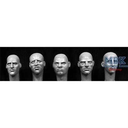 5 heads with various European faces