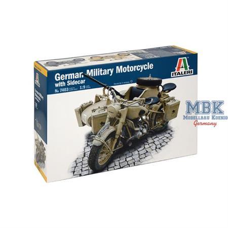 Deutsches Militärmotorrad mit Seitenwagen  1:9