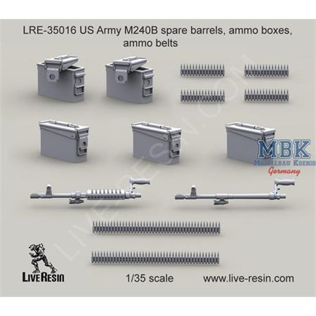 US Army M240B spare barrels, ammo boxes, belts