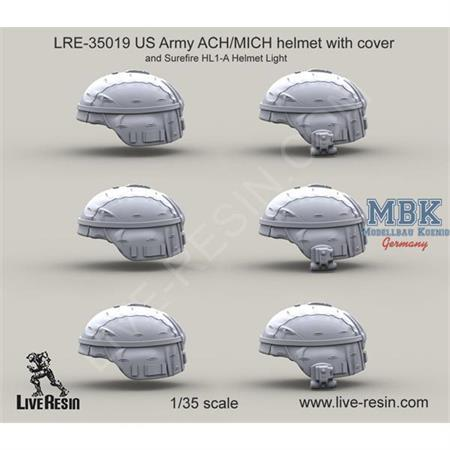 US Army ACH/MICH helmet w/ cover & Surefire HL-1A