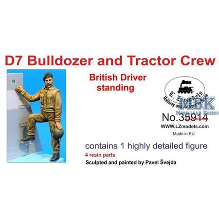 British D7 Tractor + Bulldozer Driver standing