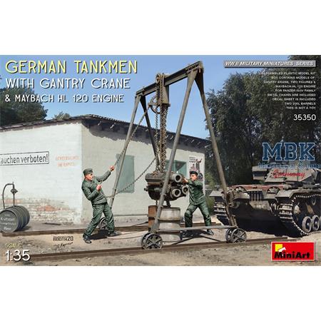 German Tankmen with Gantry Crane & Maybach Engine