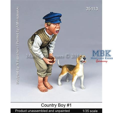 Country boy with dog