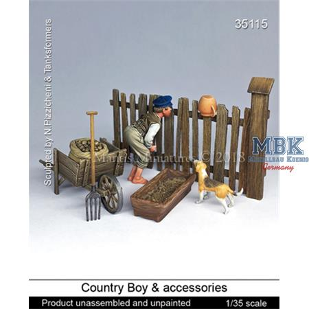 Boy with country accessories