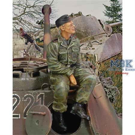 Waffen SS Tanker sitting on turret