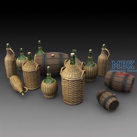 Wicker Bottles Demijohn Glass and small barrels