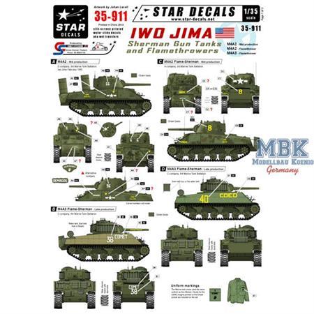 Iwo Jima Sherman Gun and Flame tanks