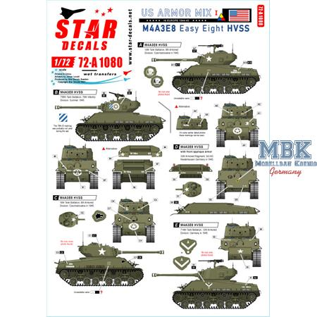 US M4A3E8 Easy Eight tanks in NW Europe