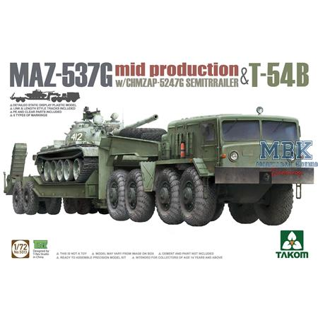 MAZ-537G (mid) +  CHMZAP-5247G Semitrailer & T-54B