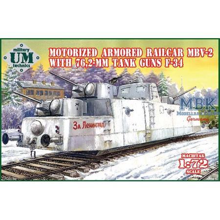 "Armored railcar ""MBV-2"" with 76.2mm tank guns F-34"