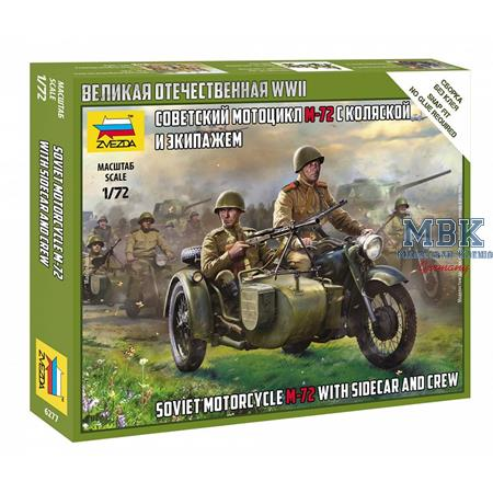 1:72 Soviet Motorcycle M-72 w/sidecar + Crew WWII